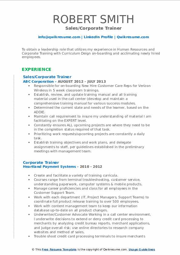 Sales/Corporate Trainer Resume Sample