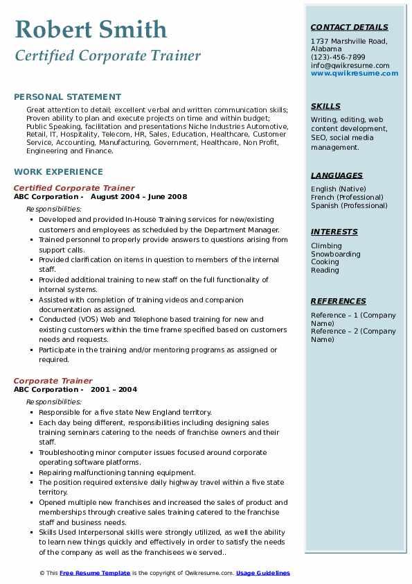 Certified Corporate Trainer Resume Sample