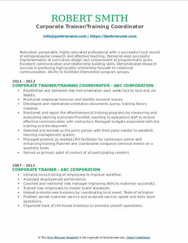 Corporate Trainer/Training Coordinator Resume Example
