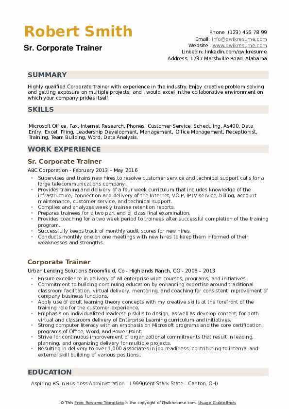 Sr. Corporate Trainer Resume Example