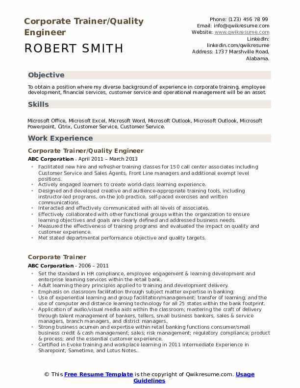 Corporate Trainer/Quality Engineer  Resume Sample