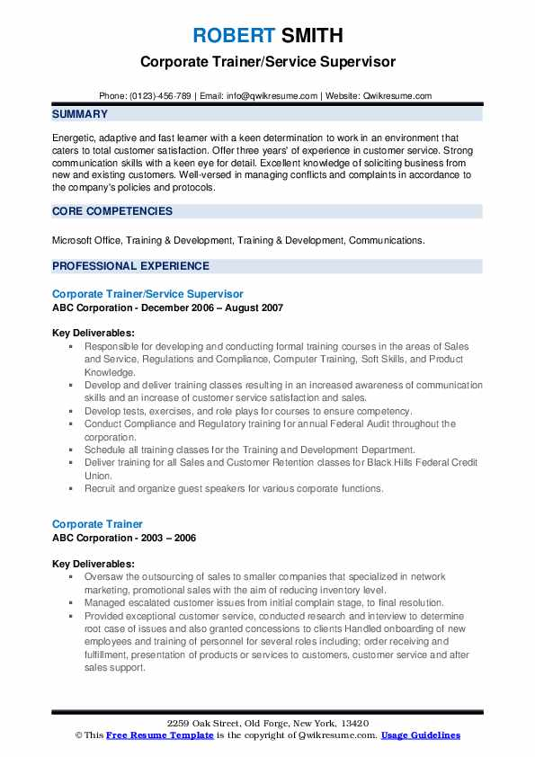 Corporate Trainer/Service Supervisor Resume Format