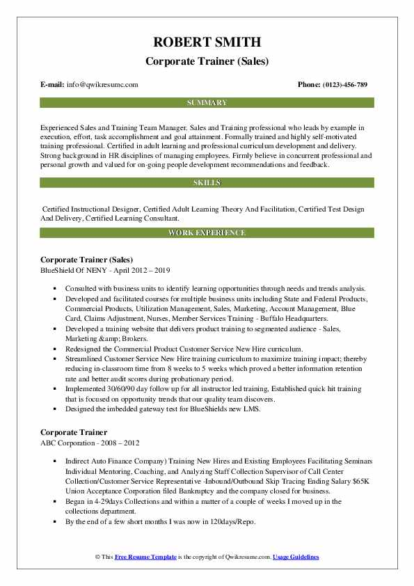 Corporate Trainer (Sales) Resume Example