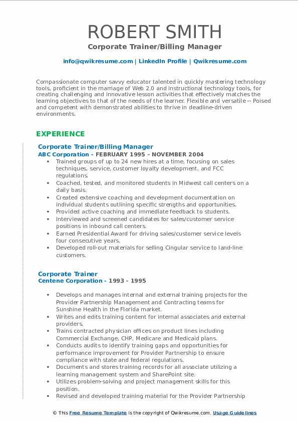 Corporate Trainer/Billing Manager Resume Sample