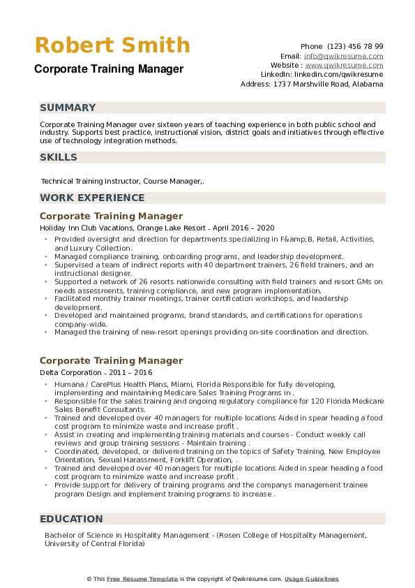 Corporate Training Manager Resume example