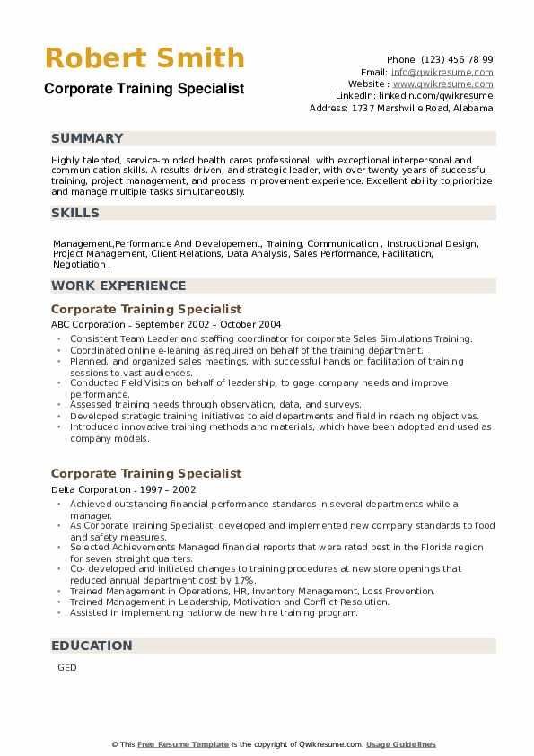 Corporate Training Specialist Resume example