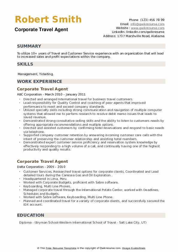 corporate travel agent resume samples  qwikresume