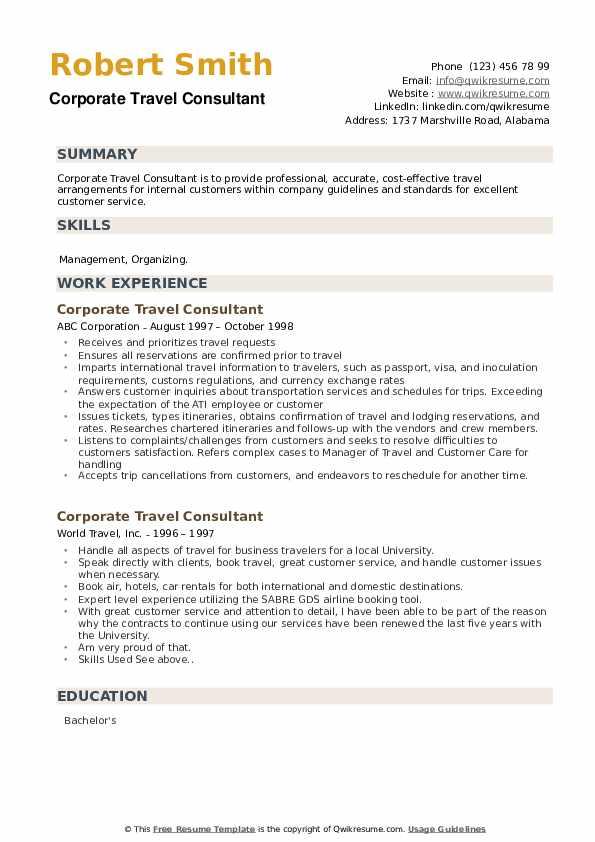 Corporate Travel Consultant Resume example