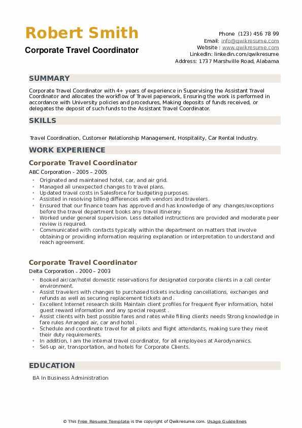 Corporate Travel Coordinator Resume example