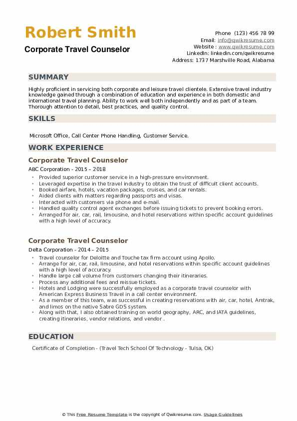 Corporate Travel Counselor Resume example