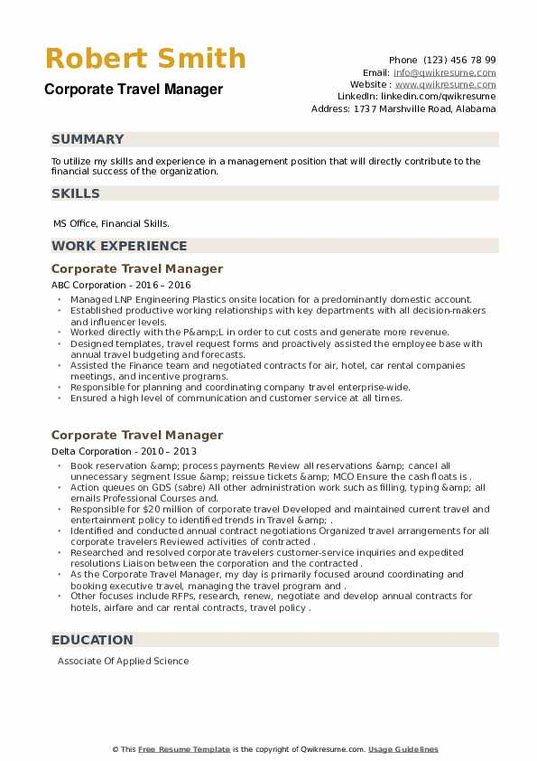 Corporate Travel Manager Resume example