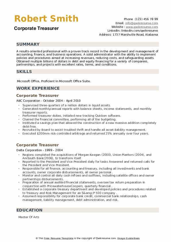 Corporate Treasurer Resume example