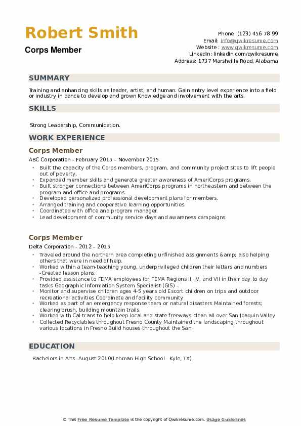 Corps Member Resume example