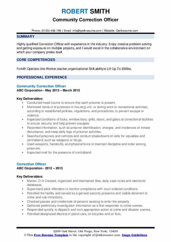 Community Correction Officer Resume Format