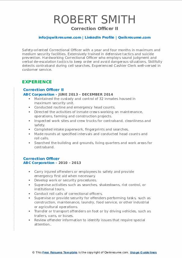 Correction Officer II Resume Template