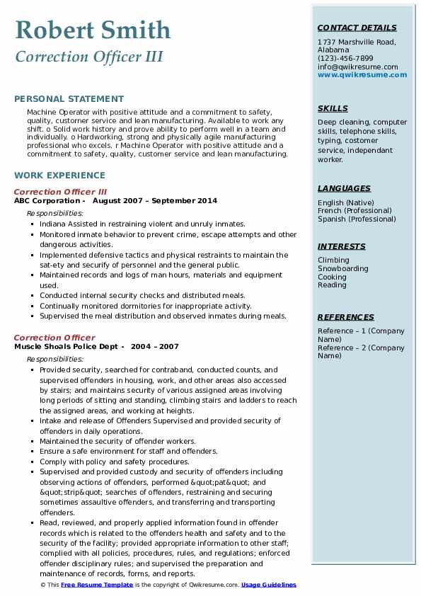 Correction Officer III Resume Template
