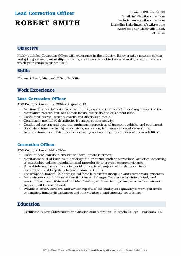 Lead Correction Officer Resume Sample