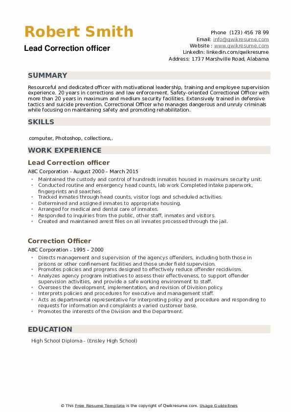 Lead Correction officer Resume Model