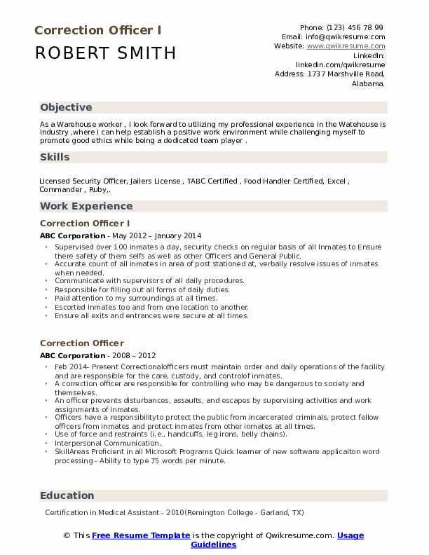 Correction Officer I Resume Format