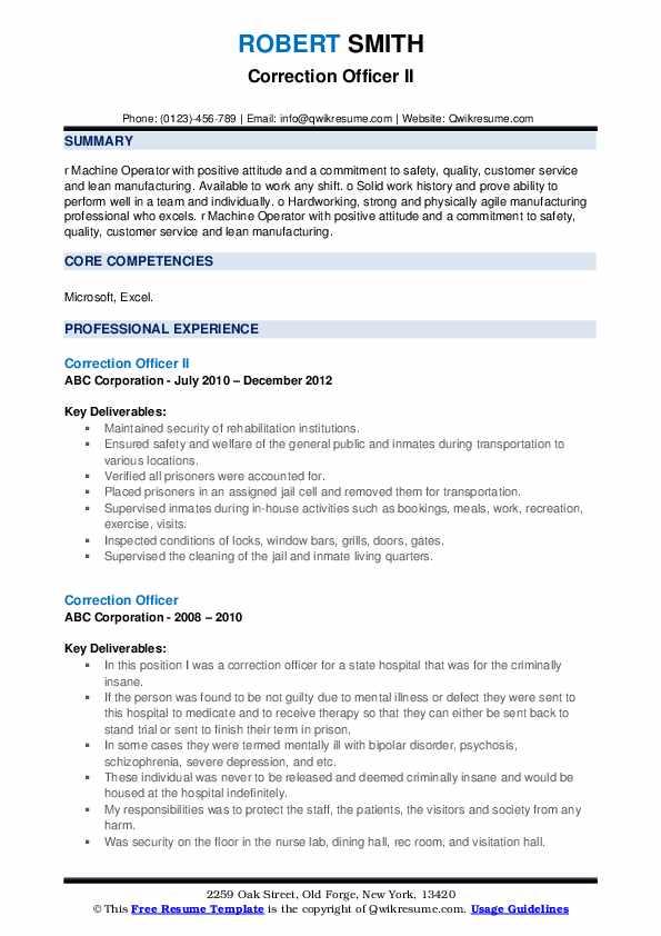 Correction Officer II Resume Model