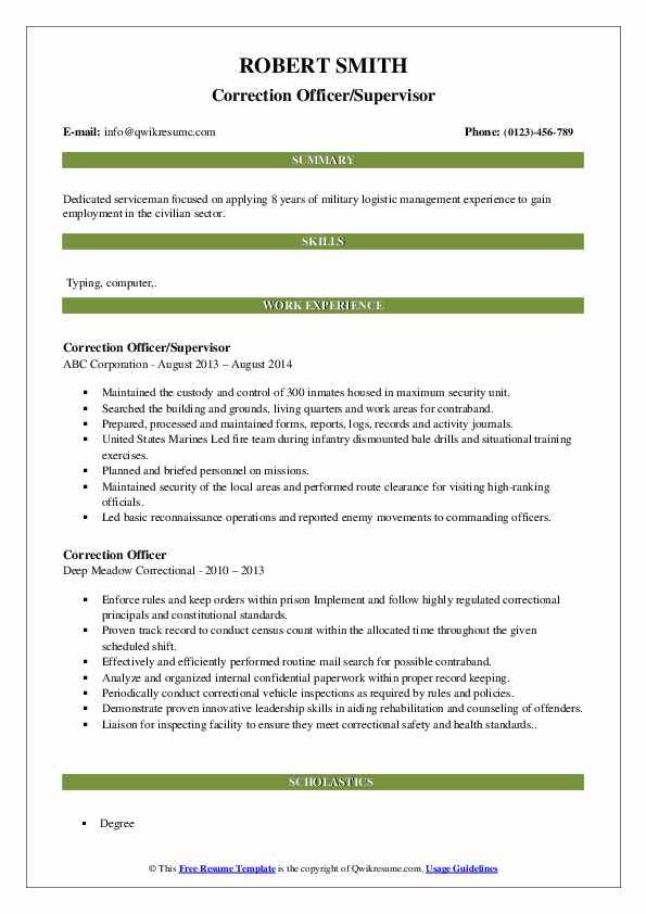 Correction Officer/Supervisor Resume Sample