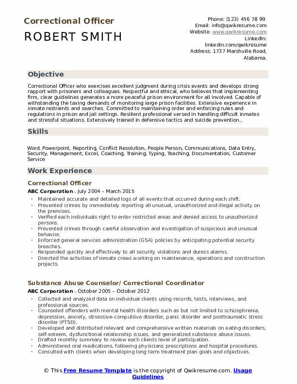 Correctional Officer Resume Template
