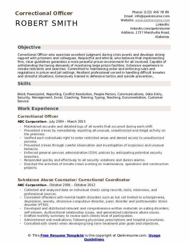 Correctional Officer Resume Model