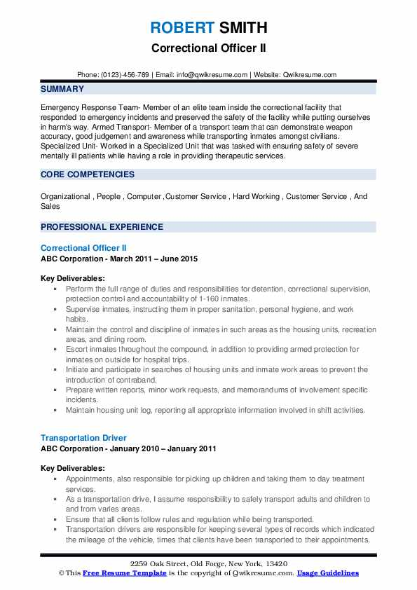 Correctional Officer II Resume Template