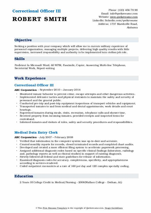 Correctional Officer III Resume Format