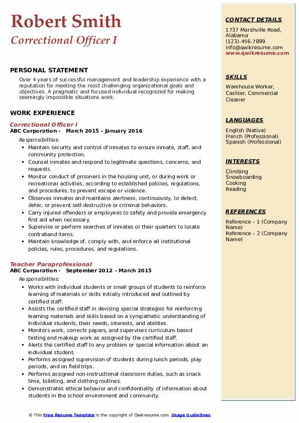Correctional Officer I Resume Template