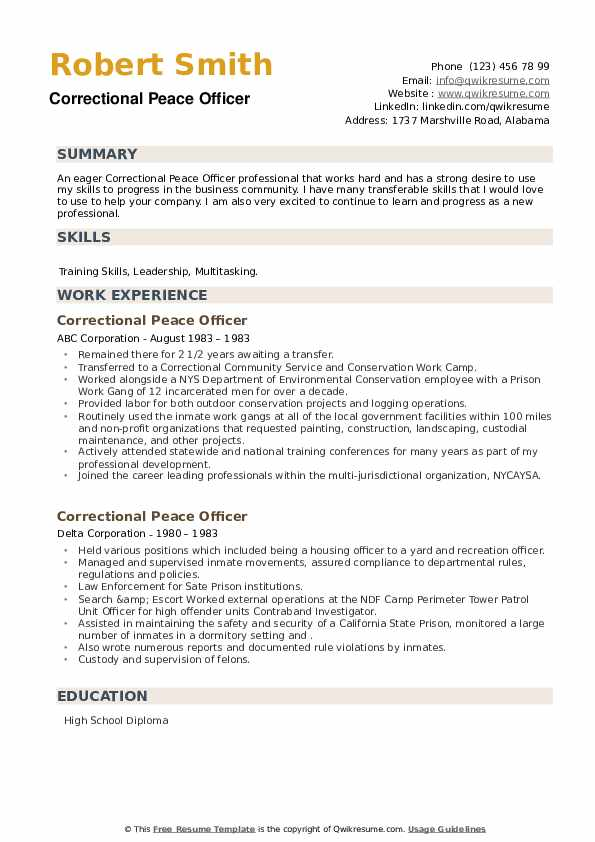 Correctional Peace Officer Resume example