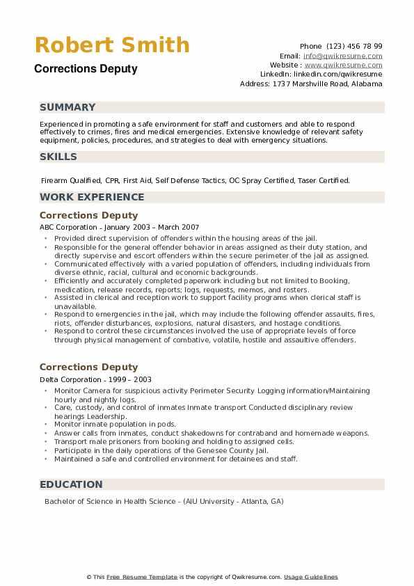 Corrections Deputy Resume example