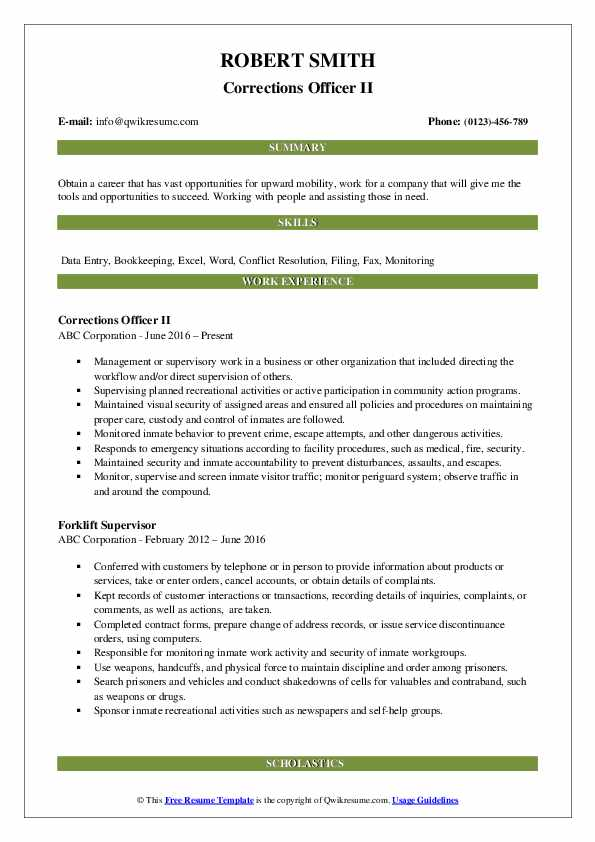 Corrections Officer II Resume Model