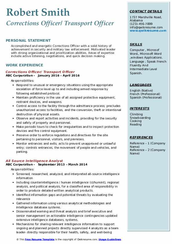 Corrections Officer/ Transport Officer Resume Model
