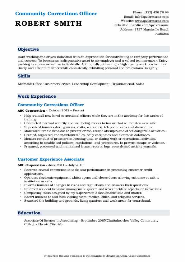 Community Corrections Officer  Resume Template