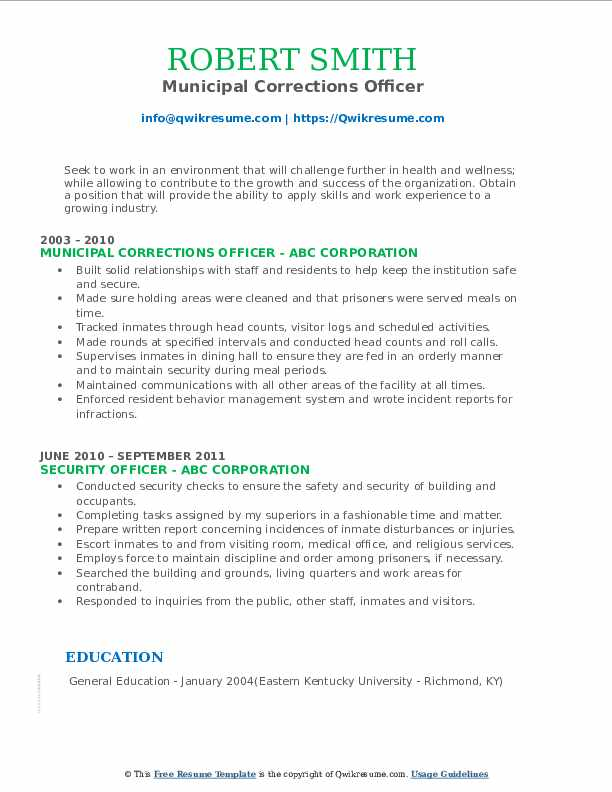 Municipal Corrections Officer Resume Template