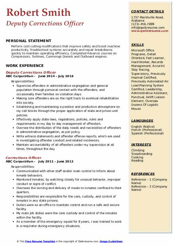 Deputy Corrections Officer Resume Model