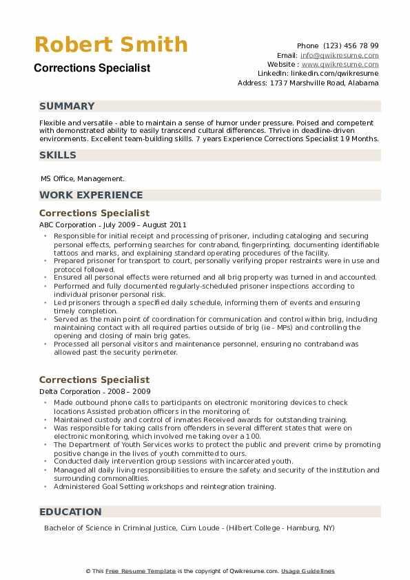 Corrections Specialist Resume example