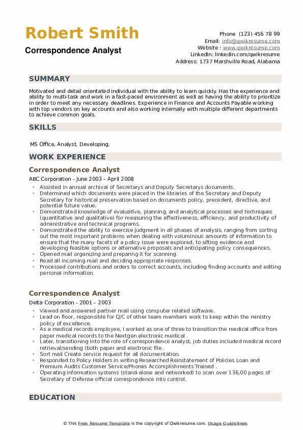 Correspondence Analyst Resume example
