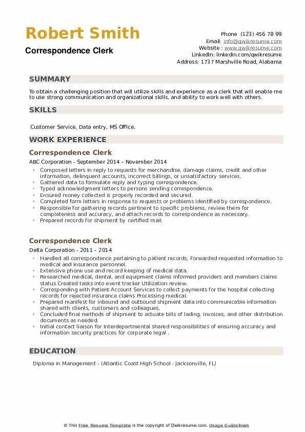 Correspondence Clerk Resume example