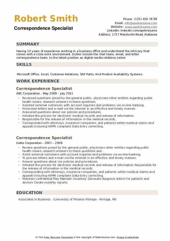 Correspondence Specialist Resume example