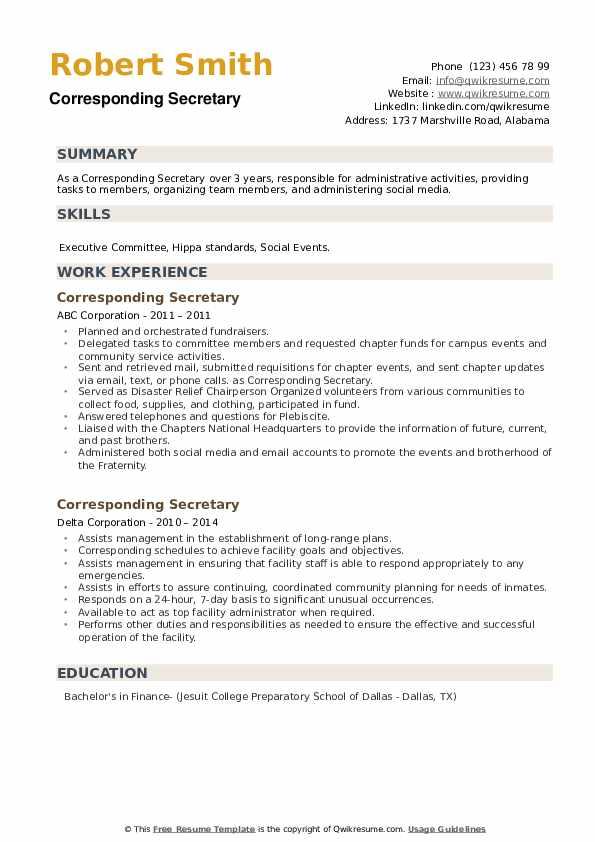 Corresponding Secretary Resume example