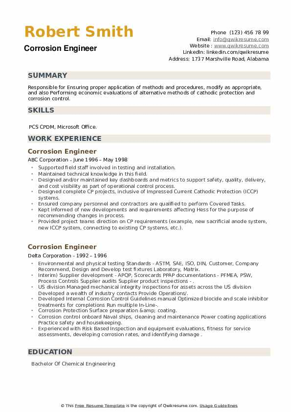 Corrosion Engineer Resume example