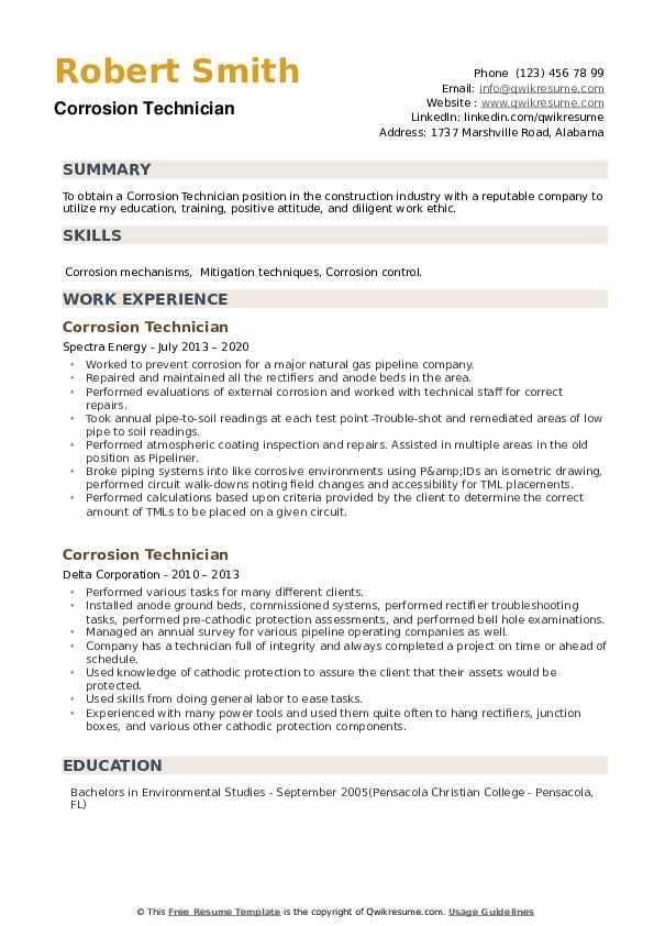 Corrosion Technician Resume example