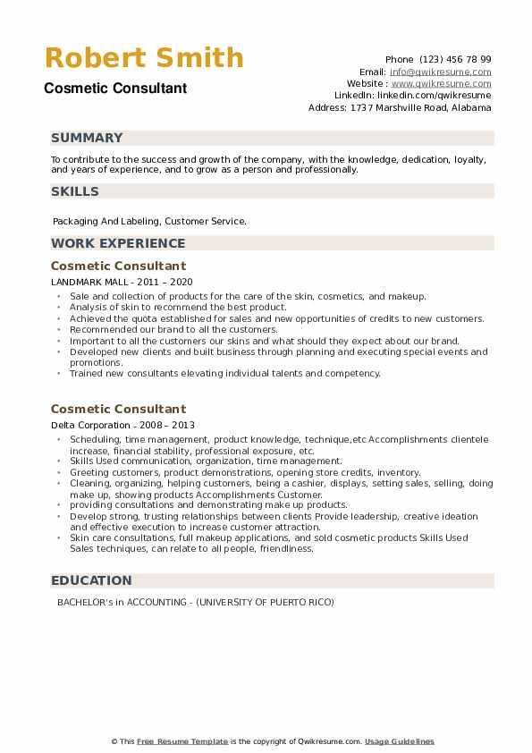 Cosmetic Consultant Resume example