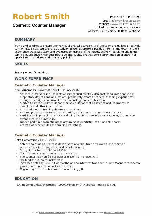 Cosmetic Counter Manager Resume example