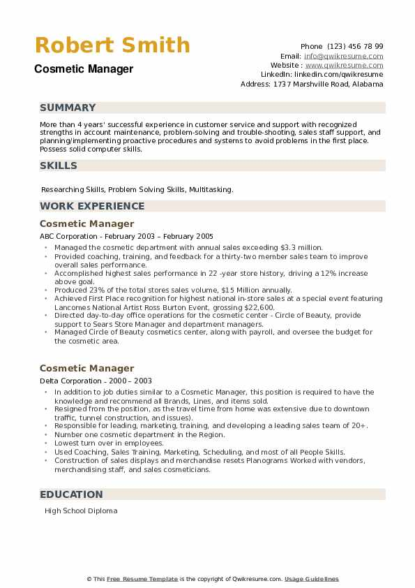 Cosmetic Manager Resume example