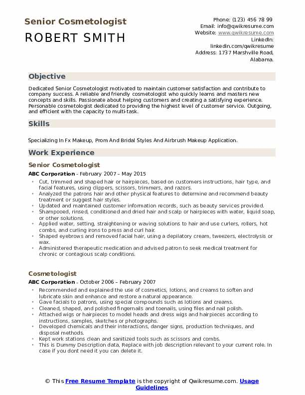 Senior Cosmetologist Resume Example