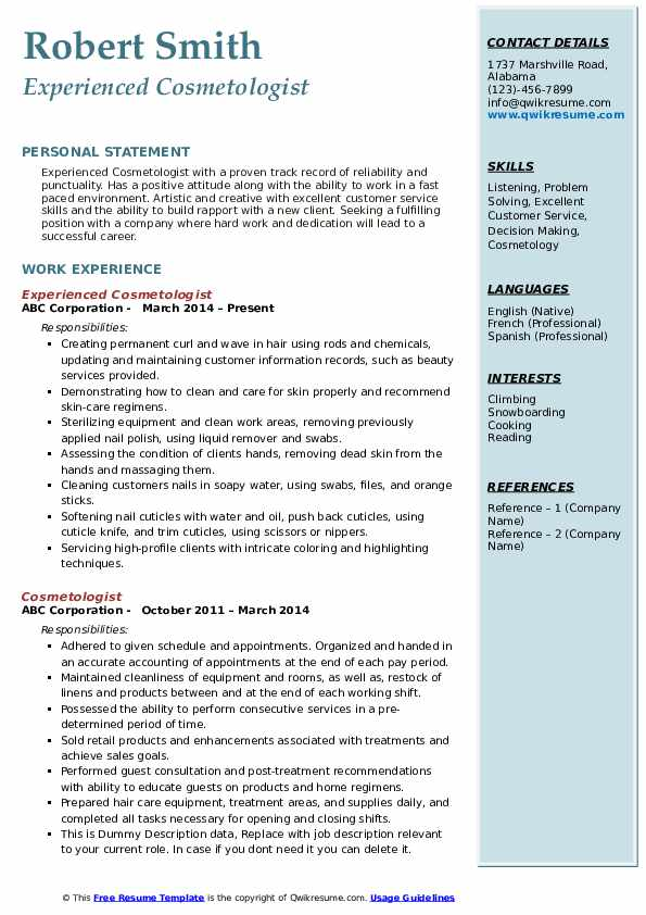 Experienced Cosmetologist Resume Example
