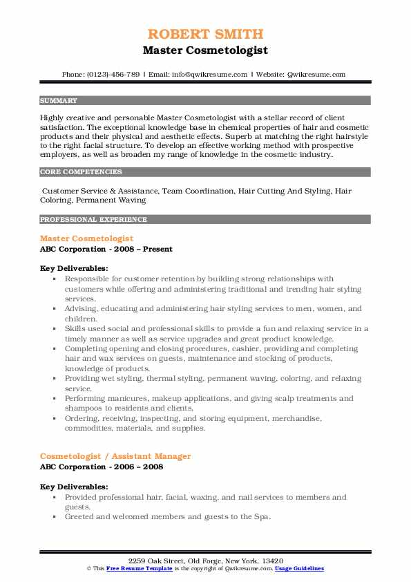 Master Cosmetologist Resume Sample